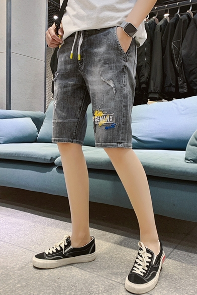 Summer Trendy Letter Pattern Ripped Detail Drawstring Waist Black Casual Denim Shorts
