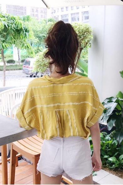 Summer Trendy Vertical Striped Printed Short Sleeve Loose Fit Shirt