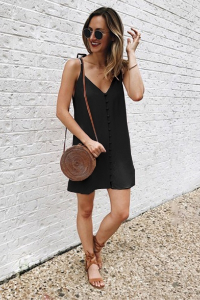 Summer Womens New Fashion Button Down Sleeveless Mini Casual Loose Cami Dress