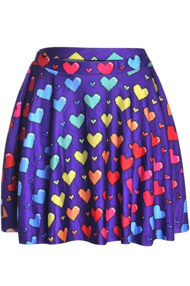 Sweet Colorful Heart Print Girls Purple Mini Pleated Skater Skirt