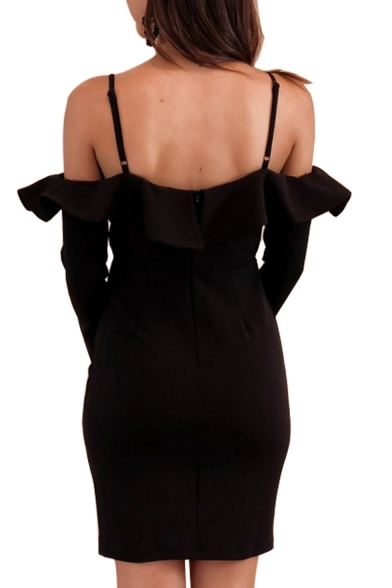 Trendy Hot Sexy Chic Cold Shoulder Ruffle Trim Split Sleeve Fitted Mini Straps Dress