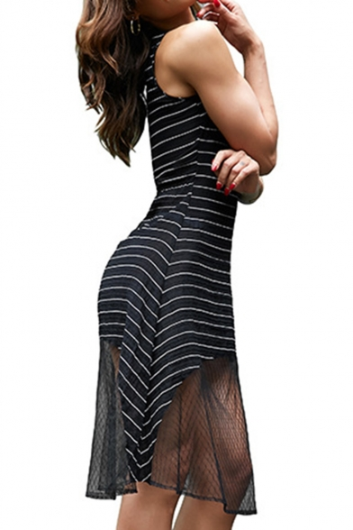 Trendy Sexy Striped Print Hollow Out Plunge V-Neck Mesh Patch Midi Tank Dress