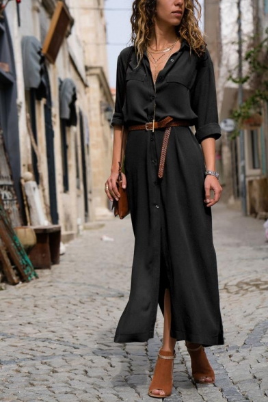 Womens Chic Fashion Plain Long Sleeve Split Side Button Down Maxi Shirt Dress with Belt