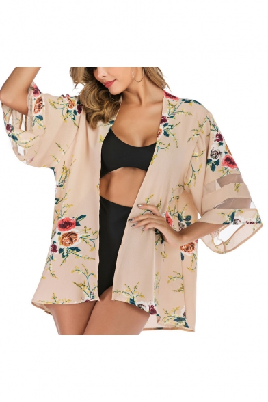 Womens Chic Floral Pattern Mesh Panel Sleeve Sun Protection Beach Kimono Blouse