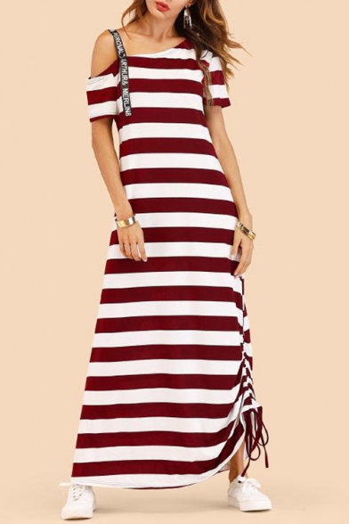 Womens Classic Striped Printed Cold Shoulder Drawstring Side Maxi Swing Dress