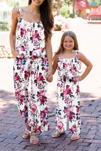 Womens Hot Fashion Floral Print Straps Scoop Neck Sleeveless Leisure Holiday Jumpsuits
