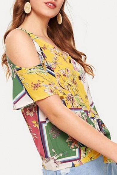 Womens Hot Fashion Off Shoulder Floral Print Button Front Knotted Hem Holiday Blouses