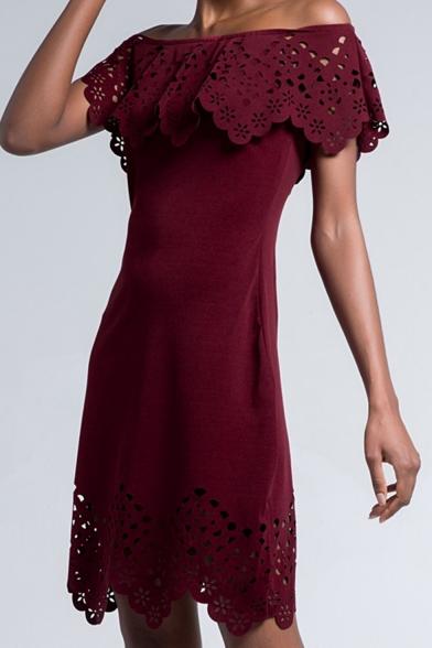 Womens Hot Fashion Off Shoulder Lace Trim Patchwork Cutout Plain Mini Evening Party Dress