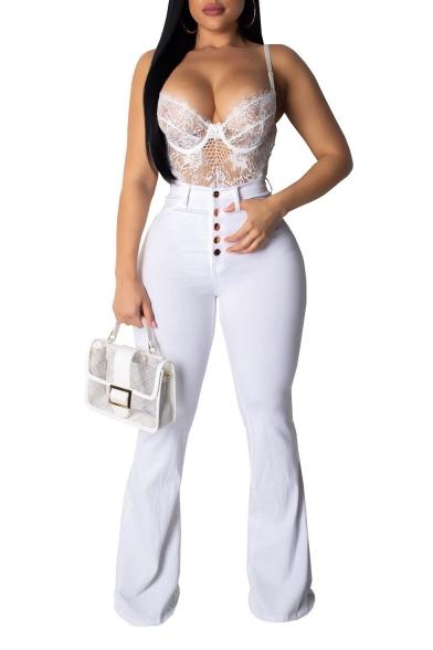 Womens Hot Popular High Waist Button-Fly Simple Plain White Slim Bootcut Flared Pants