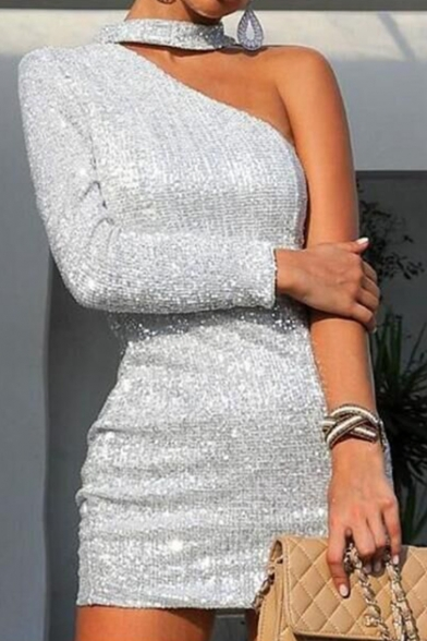 Womens New Trendy One Shoulder Glitter Silver Mini Bodycon Party Dress