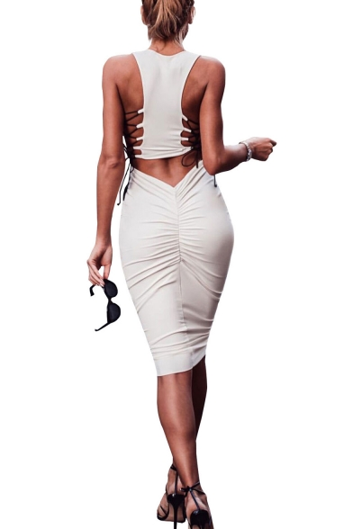 Womens Sexy Hollow Out Lace-Up Back Round Neck Sleeveless Plain Midi Bodycon Pencil Tank Dress