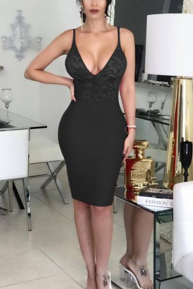 Womens Sexy Sheer Lace Panel Plunging V-Neck Sleeveless Plain Midi Tight Slip Club Dress