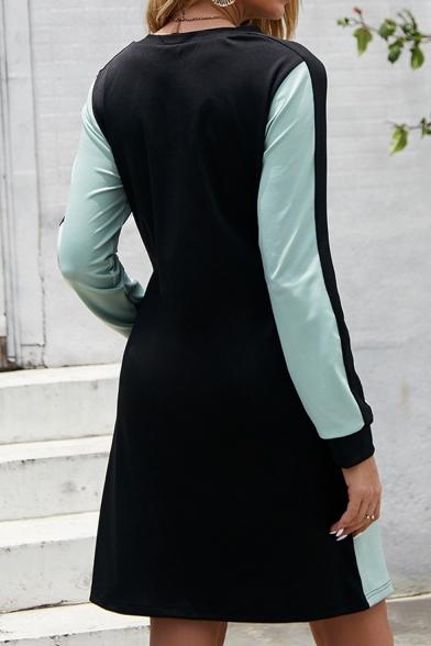 Womens Stylish Long Sleeve Round Neck Patchwork Straight Midi Dress