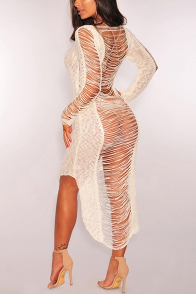 Womens Stylish Unique Hollow Tassel Hem Scoop Neck Long Sleeve Maxi High Low Bikini Cover Up Dress