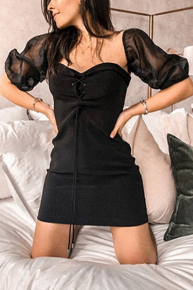 Womens Trendy Black Mesh Sleeve Lace-Up Front Mini Fitted Dress