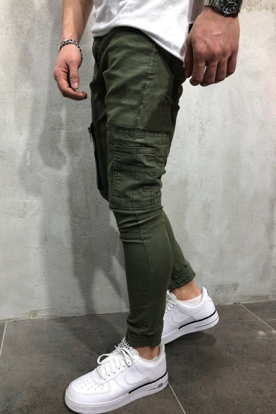Cool Fashion Zipped Pocket Solid Color Slim Fit Pencil Pants for Men