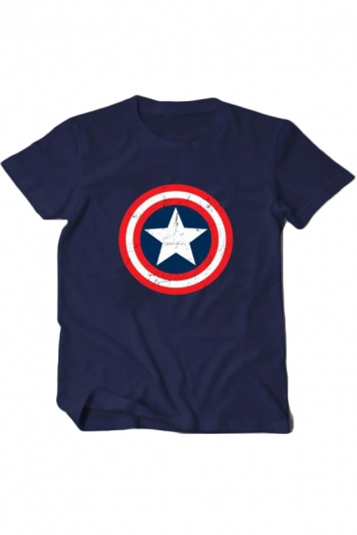 Cool Simple Star Shield Printed Round Neck Short Sleeve Casual Cotton Tee