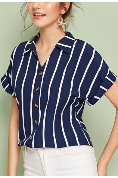 Fashion Blue Vertical Striped Print Loose Casual Button Down Shirt