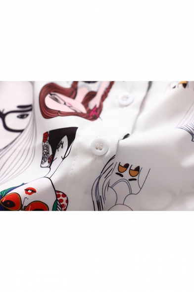 Fashion Cartoon Comic Girl Printed Long Sleeve Casual Loose Button Shirt