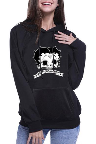 Fashion Halloween Cartoon Boop Doop Print Black Loose Fit Hoodie LM548957 фото
