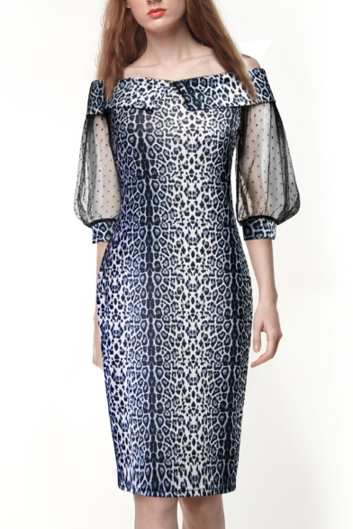 Fashion Womens Snakeskin Print Off Shoulder Lace Patch Sleeves Midi Chic Dress