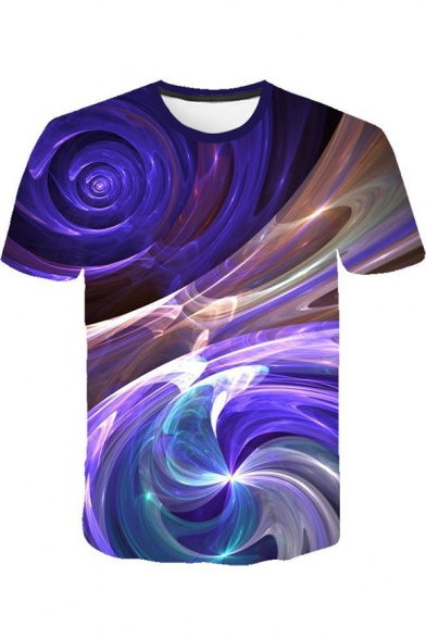 Fashion Purple Abstract Art Whirlpool 3d Print Round Neck Short Sleeve