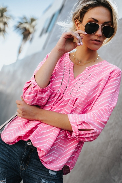 Fashion Striped Printed V-Neck Three-Quarter Sleeve Casual Chiffon Blouse
