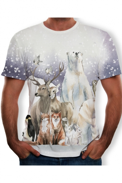 Fashion White Snow Animal Wolf Printed Round Neck Short Sleeve T-Shirt