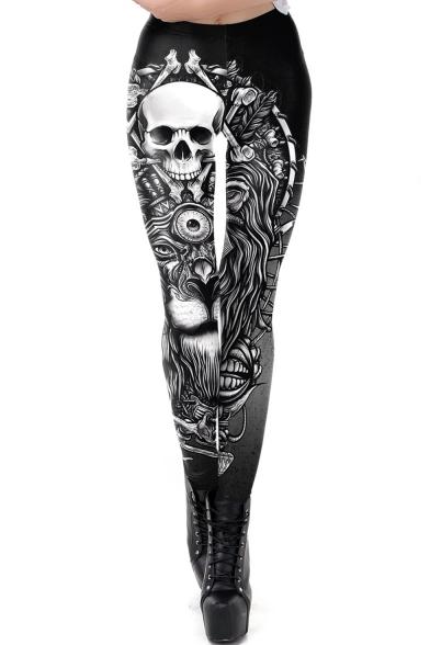 Fashion Womens Black Skull Skeleton Print High Waist Skinny Fitted Fancy Pants Leggings