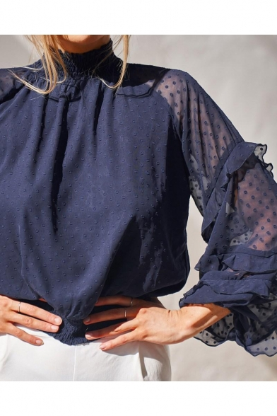 Fashion Womens Plain Swiss Dot High Neck Elastic Hem Ruffle Sleeve Blouse