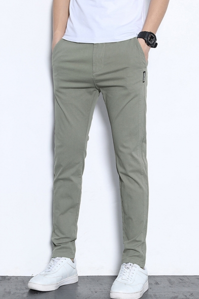 Fashionable Basic Simple Plain Slim Fitted Casual Cotton Dress Pants for Men