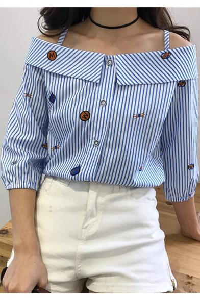 Girls Fashion Straps Boat Neck Button Front Blue Striped Blouse Shirt