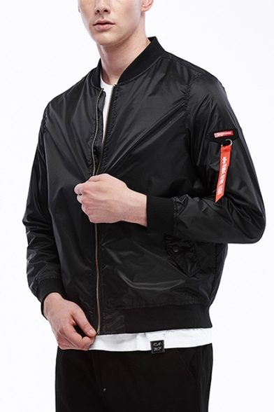 Guys Classic Ribbon Long Sleeve Stand Collar Zip Up Fitted Bomber Jacket
