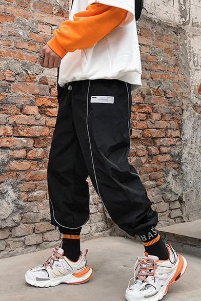 Guys New Fashion Contrast Reflective Strip Design Drawstring Waist Street Style Casual Loose Track Pants