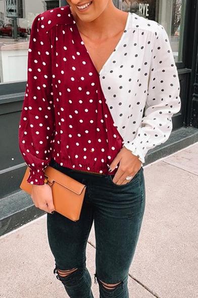 Hot Popular Fashion Two-Tone Polka Dot Printed V-Neck Long Sleeve Loose Casual Blouse