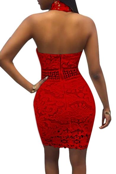 Popular Plain Sleeveless Cutout Lace Skinny Fitted Mini Dress