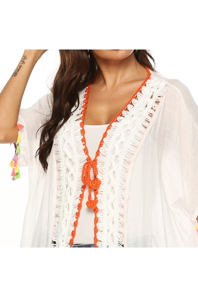 Hot Stylish White Cutout Crochet Fringe Sleeve Tie Front Beach Tunic Shirt
