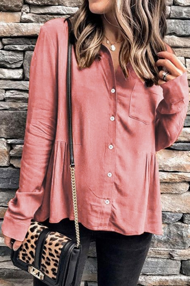 Hot Stylish Womens Plain Long Sleeve Button Down Chest Patch Pocket Office Shirt