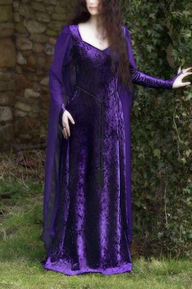 Ladies Vintage Medieval Square Neck Long Sleeve Plain Maxi Floor Length Cape Dress