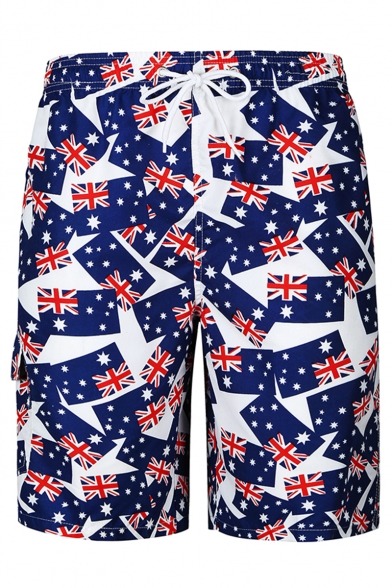Men's Fashion Casual Blue UK Flag Pattern Drawstring Beach Short Swim Trunks