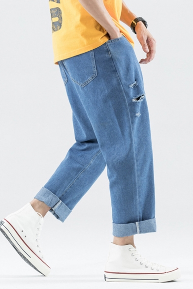 Men's New Fashion Simple Plain Knee Cut Rolled Cuffs Blue Straight Wide Leg Casual Jeans