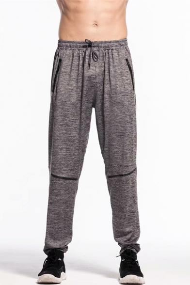 Men's New Fashion Solid Color Zipped Pocket Drawstring Waist Dark Grey Casual Loose Sports Sweatpants