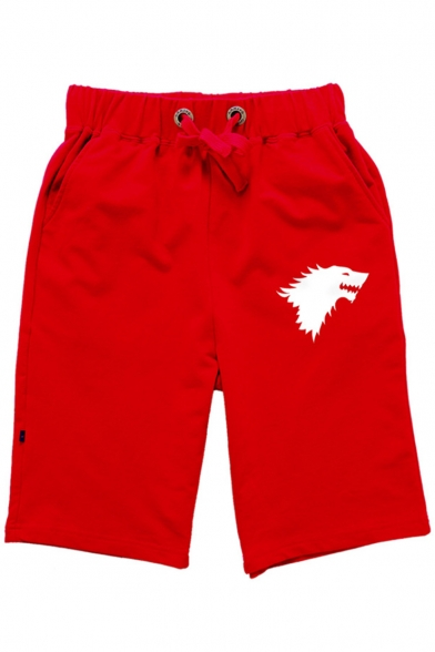 Men's Summer Hot Fashion Wolf Printed Drawstring Waist Cotton Blend Casual Sweat Shorts