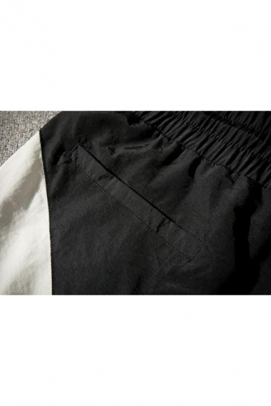 Men's Summer New Fashion Colorblock Patch Drawstring Waist Casual Loose Active Shorts