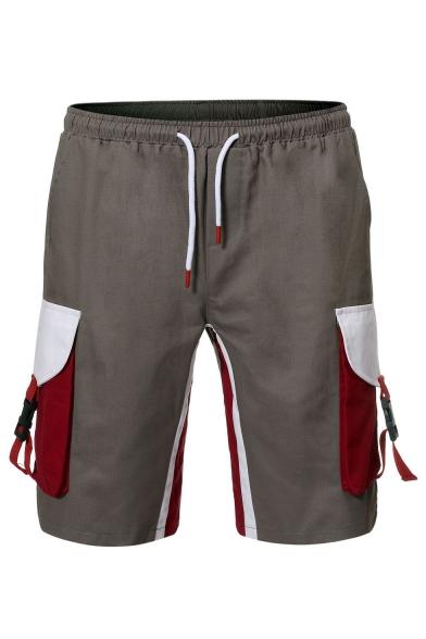 Men's Summer New Stylish Colorblock Buckle Flap Pocket Drawstring Waist Leisure Cotton Cargo Shorts