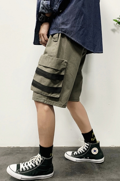 Men's Summer Trendy Simple Plain Ribbon Patched Casual Cargo Shorts