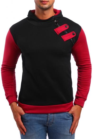 Mens Unique Oblique Zipper Embellished Color Block Long Sleeve Slim Fitted Hoodie