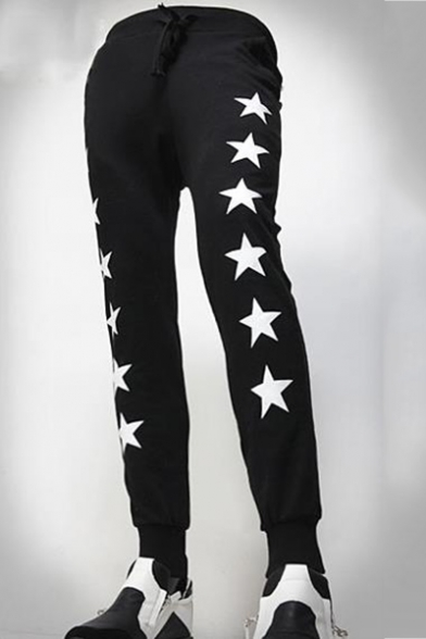 New Fashion Stars Letter Printed Drawstring Waist Men's Casual Fitted Joggers Sweatpants