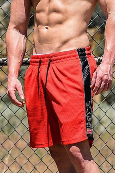 Popular Fashion Letter BUT 2 Printed Contrast Patched Side Drawstring Waist Men's Fashion Quick Drying Athletic Shorts