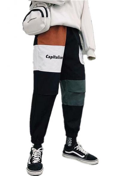 Stylish Color Block Letter CAPLTALISM Print Elastic Cuff Men's Cotton Cargo Pants